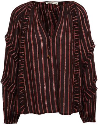 Ulla Johnson Ruffled Striped Cotton And Lurex-blend Blouse