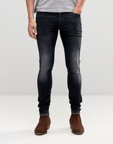 Asos Extreme Super Skinny Jeans With Blue Black Acid Wash