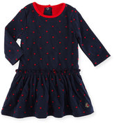 Petit Bateau Long-Sleeve Dress w/ Heart Dot Print, Size 3-36 Months