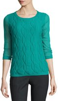 Lafayette 148 New York Lightweight Double-Layer Cable-Knit Top, Green