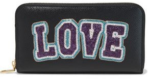 Dolce & Gabbana Bead-embellished Textured-leather Wallet