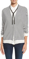 Brunello Cucinelli Monili-Tie Striped Cardigan, Grainy White/Onyx