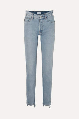 Balenciaga Distressed High-rise Straight-leg Jeans - Blue