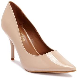 Truffle Collection Nude Patent Pointed High Heel Court Shoes