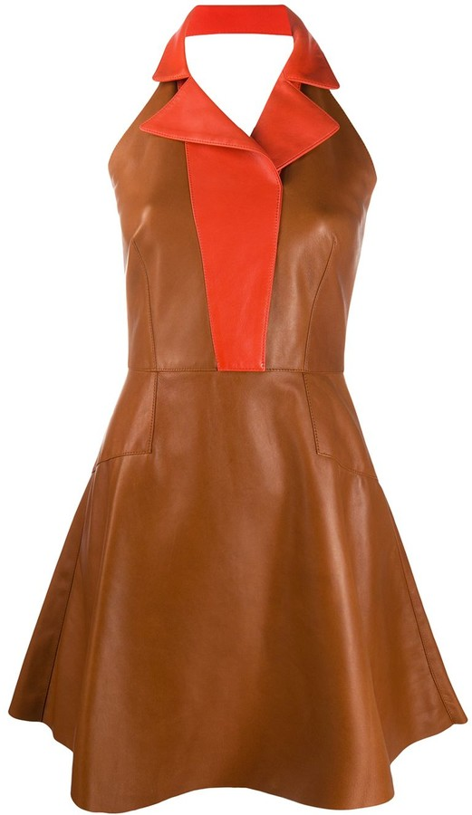 Alexander McQueen Colour Block Flared Dress