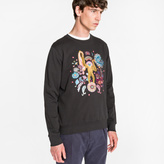 Paul Smith Men's Black Loopback-Cotton 'Monkey' Embroidered Sweatshirt