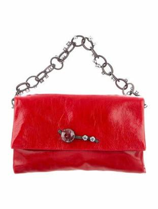 Miu Miu Embellished Leather Crossbody Bag Red