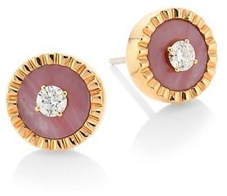 Marli Coco Femme 18K Rose Gold, Diamond & Pink Opal Studs