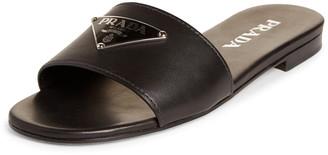 Prada Triangle Logo Slide Sandal
