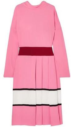 Marni Pleated Striped Crepe Midi Dress