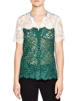 Sandro Meryl Color-Blocked Lace Top