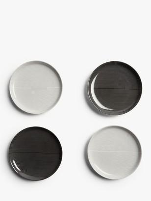 John Lewis & Partners Fine China Cake Plates, Set of 4, Black/White, 16.7cm