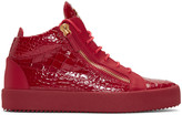 Giuseppe Zanotti Red Croc-embossed London High-top Sneakers