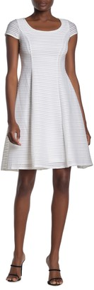 London Times Scoop Neck FIt & Flare Dress