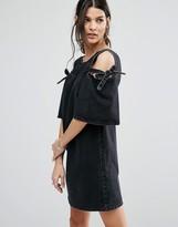 Asos Denim Peep Shoulder Shift Dress