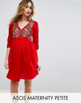 Asos Petite Mini Dress With Embroidery