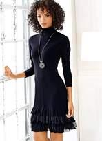 Linea Tesini Heine Tiered Ruffle Trim Fine Knit Dress