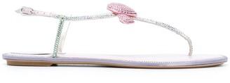 Rene Caovilla Heart Rhinestone Embellished Sandals