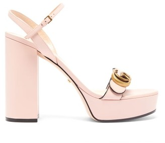 Gucci GG Marmont Leather Platform Sandals - Womens - Light Pink