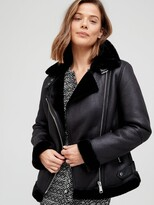 Thumbnail for your product : Very Faux Shearling Aviator Coat - Black