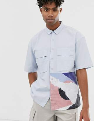 Asos boxy shirt in pastel blue with placement print