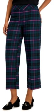 Charter Club Plaid Wide-Leg Cropped Pants, Created for Macy's