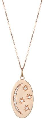 Nina Gilin 14K Rose Gold & Diamond Moon & Stars Oval Pendant Necklace