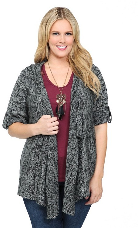 Grey And Silver Lurex Open-Front Hooded Cardigan