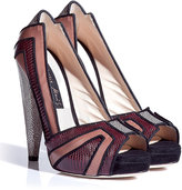 Chrissie Morris Bordeaux/Nude Peep Toe Platform Pumps