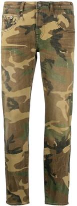 R 13 Denim Camouflage Print Jeans