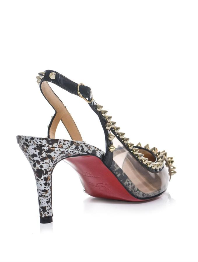 Christian Louboutin Manovra spike Perspex 70mm slingback pumps