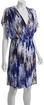 Calvin Klein blue printed jersey split sleeve dress