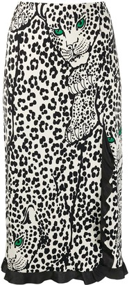 RED Valentino Leopard Print Frilled Trim Skirt
