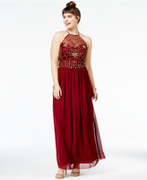 B. Darlin Trendy Plus Size Embellished Halter Gown