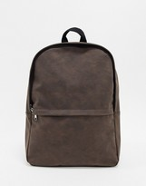 Asos Design DESIGN backpack in brown faux leather