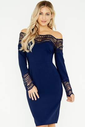Little Mistress Gaby Navy Crochet Lace Bardot Dress
