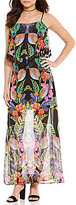 Takara Tropical-Print Tassel-Trim Popover Maxi Dress