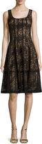 Nanette Lepore Sleeveless Paneled Lace Cocktail Dress, Black