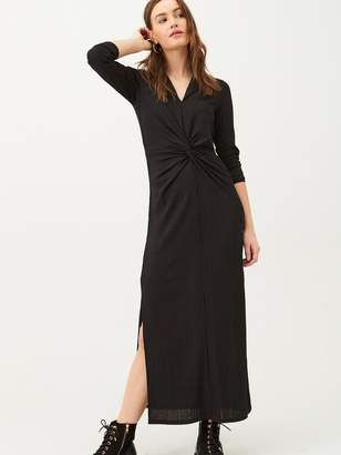 Very Front Knotted Collar Jersey Dress - Black