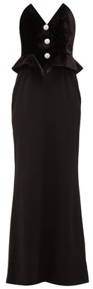 Alessandra Rich Strapless Velvet And Wool-blend Peplum Dress - Womens - Black