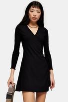 Topshop PETITE Black Seersucker Wrap Mini Dress