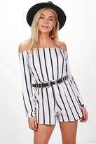 boohoo Selena Striped Off the Shoulder Playsuit white