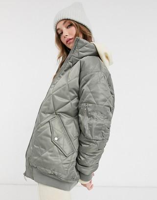 ASOS DESIGN hero quilted oversized bomber jacket in dark sage