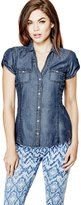 GUESS Factory Women's Suvi Short-Sleeve Denim Shirt