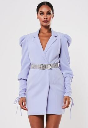 Missguided Lilac Embellished Belt Blazer Dress