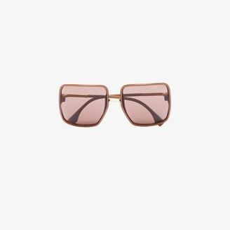 Fendi Eyewear Brown Square Frame Sunglasses