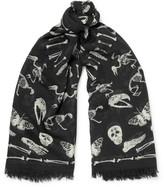 Alexander McQueen Printed Wool And Silk-blend Scarf - Black