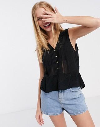Pimkie v neck cotton blouse in black
