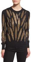 Libertine Embellished-Leaves Cashmere Sweater, Black