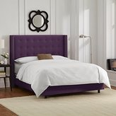 Skyline Furniture Nail Button Tufted Wingback Queen Bed in Velvet Aubergine